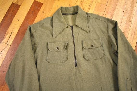 50s Wool Shirt Large Popover Half Zip Olive Drab V
