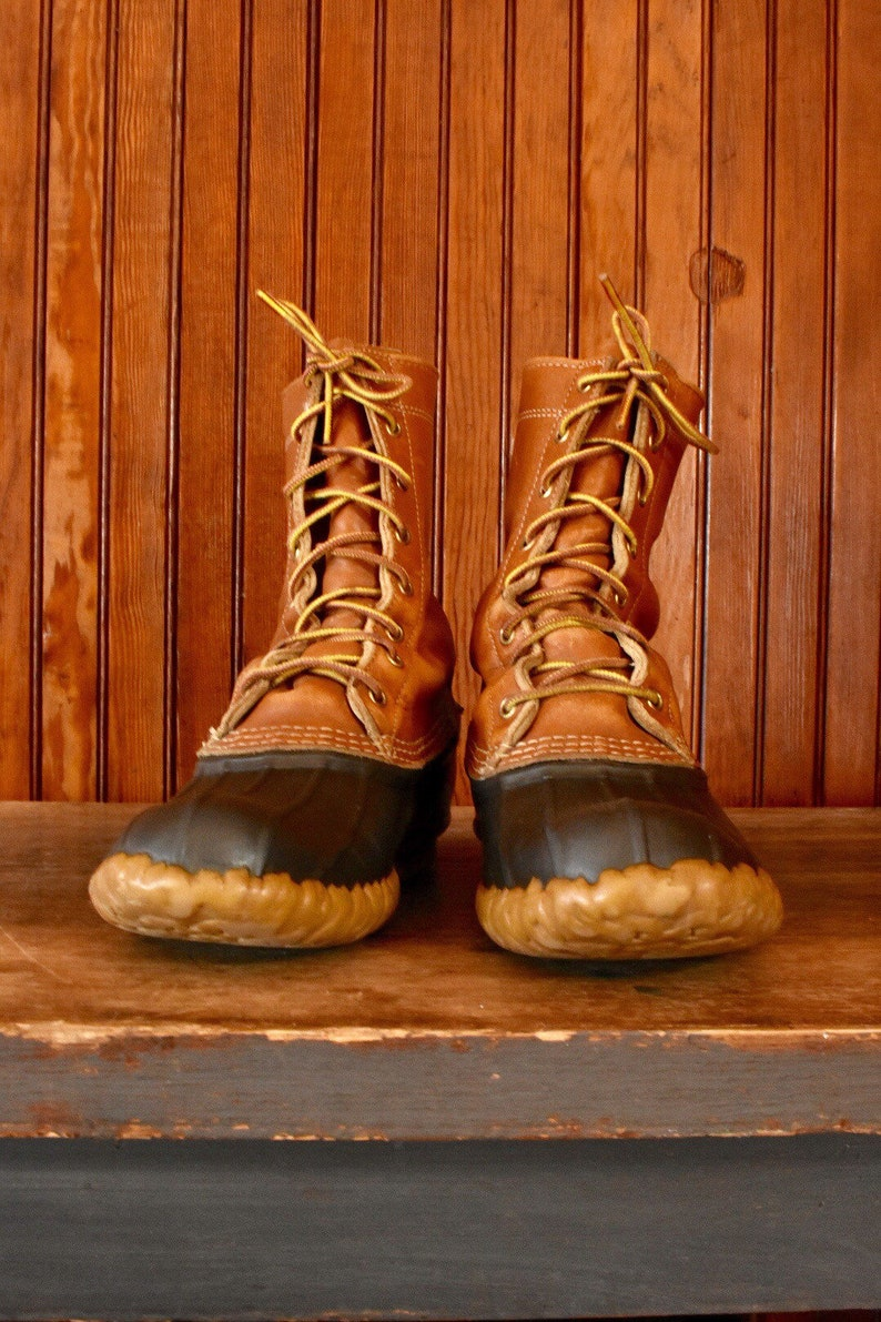 LL Bean Men/'s 8 M Duck Boots Classic Lace Up Brown Leather Vintage Maine Hunting Made In USA