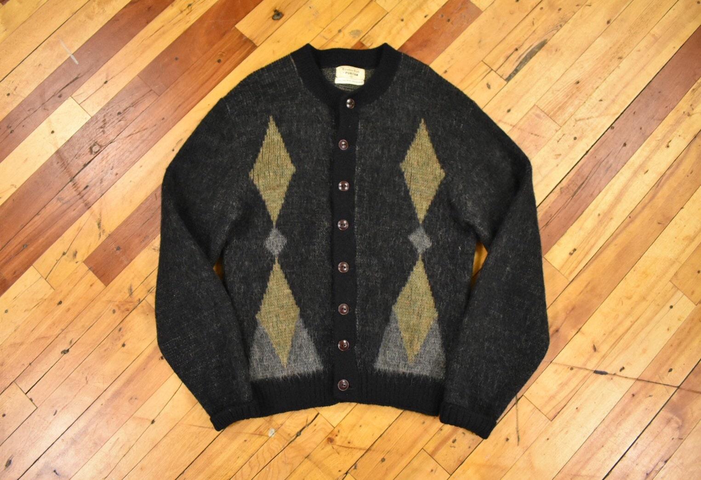 1950s Mens Hats | 50s Vintage Men's Hats Puritan Cardigan Sweater Small Wool Mohair Blend 50S 60S Vintage $20.00 AT vintagedancer.com