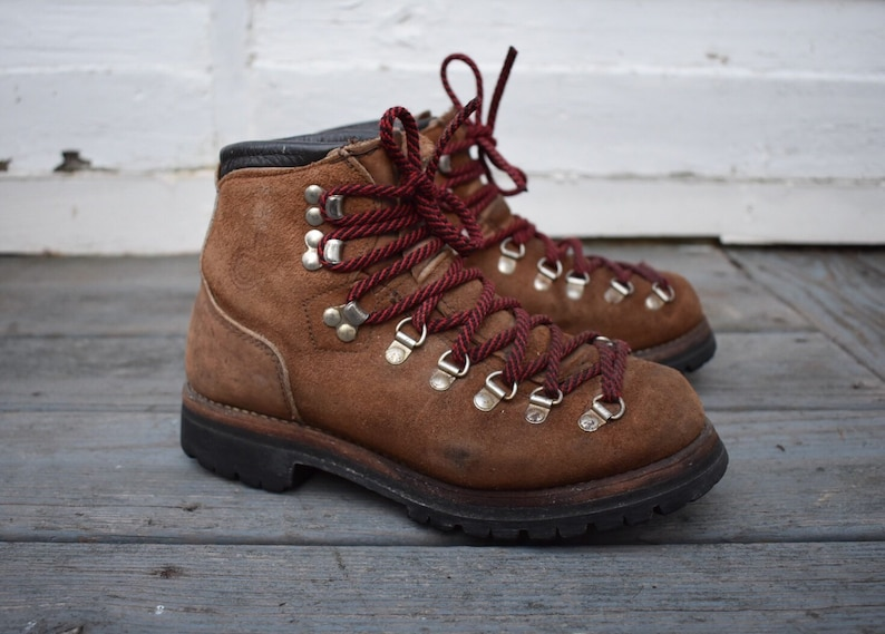 896d29b8ad1cd Dexter Boots Men's 6 M / Women's 8 M Hiking Mountaineering Lace Up Brown  Suede Leather Vintage Made In USA 70s