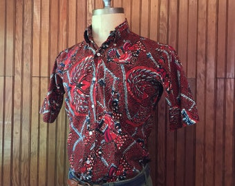 50s Enro Medium Shirt Hand Blocked All Over Print Short Sleeve Men's Vintage Wm. F. Powers & Co. West Hartford, Connecticut