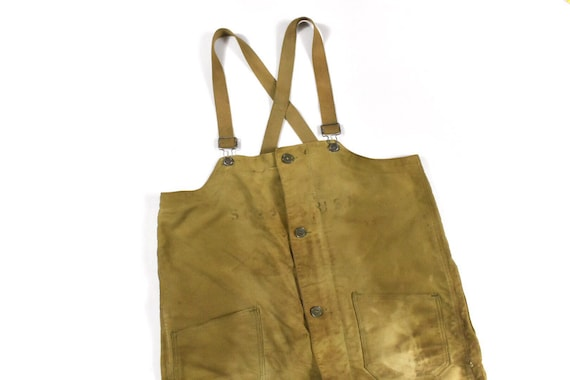 40s WWII Era Large Overalls USN Navy Olive Green W