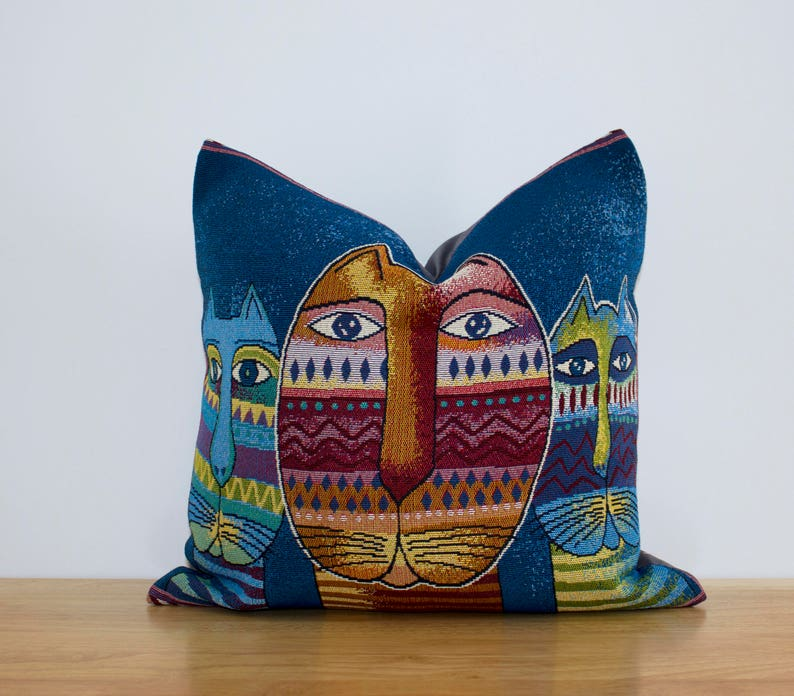 16x16in - 40x40cm Modern Home Decor Woven Decorative Animals with three Multicolour Cats Cushion Cover Pillow Case Throw Cushions,