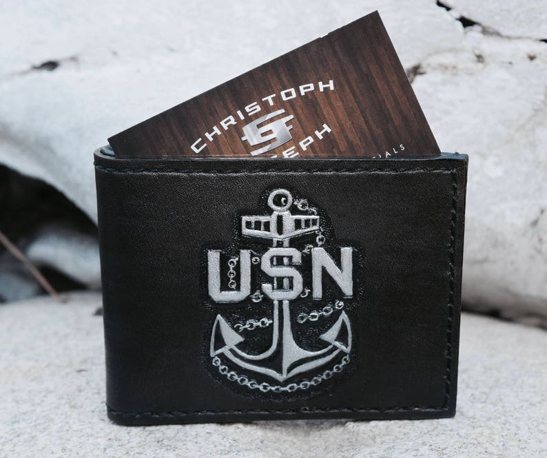 Hand Tooled Black Leather Wallet- US Navy Logo