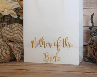 Mother of the Bride Gift Bag White- Personalized Gift Bags + Wedding + Mother of the Bride Gift + Gift Bag + Wedding Present + MOB + Bride