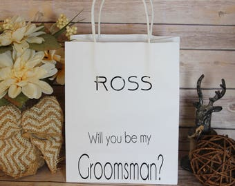 Will You Be My Groomsman? + name White - Groomsmen Gift Bags - Groomsmen Proposal Gift Bags