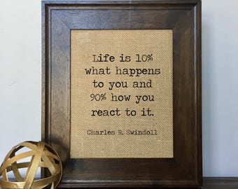 Life is 10 percent what happens to you and 90 percent how you react to it Burlap Print // Office Decor // Gift