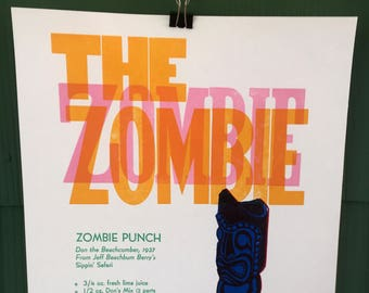 The Zombie Punch Letterpress Poster