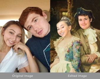 Love is Forever: Custom Canvas Using Photo, Custom Couple Portrait, Custom Paint