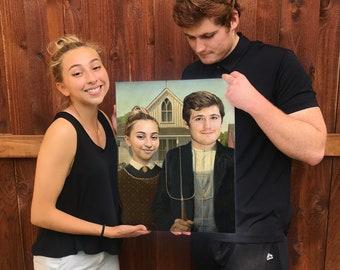 American Selfie: Custom Portrait. Custom Couple Portrait. Portrait From Photo.