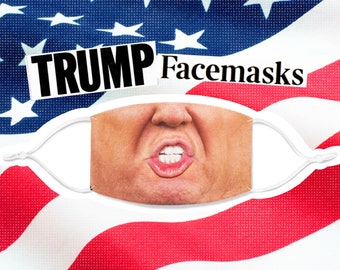 Donald Trump Facemask: face mask, face covering, United States president, USA, washable, reusable, durable, silicone adjustment beads