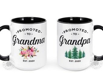 Promoted to Grandma Grandpa Mug Set New Grandparents Gift Pregnancy Announcement Baby Reveal Future Grandparents