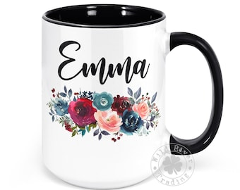 Personalized Name Mug for Women, Girls Custom Name Mug Gift for Her Floral Design Coffee Cup Mug with Name