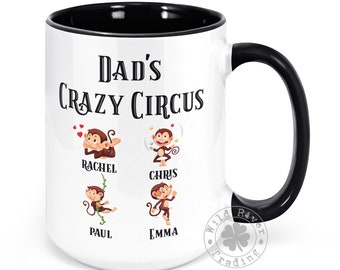 Dad's Crazy Circus Monkey Mug With Kids Names Personalized Coffee Mug Dad's Circus Monkeys Funny Father's Day Gifts for Dad Custom Children