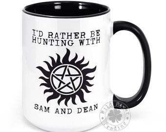 I'd Rather Be Hunting with Sam and Dean Mug Antipossession Charm Supernatural Symbol Quote Gift Cup