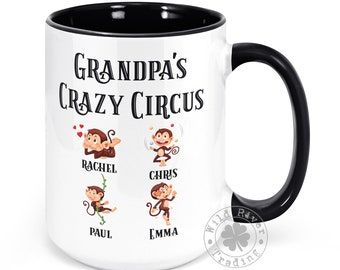 Grandpa's Crazy Circus Monkey Mug With Kids Names Personalized Coffee Mug Circus Monkeys Funny Father's Day Gifts for Grandpa