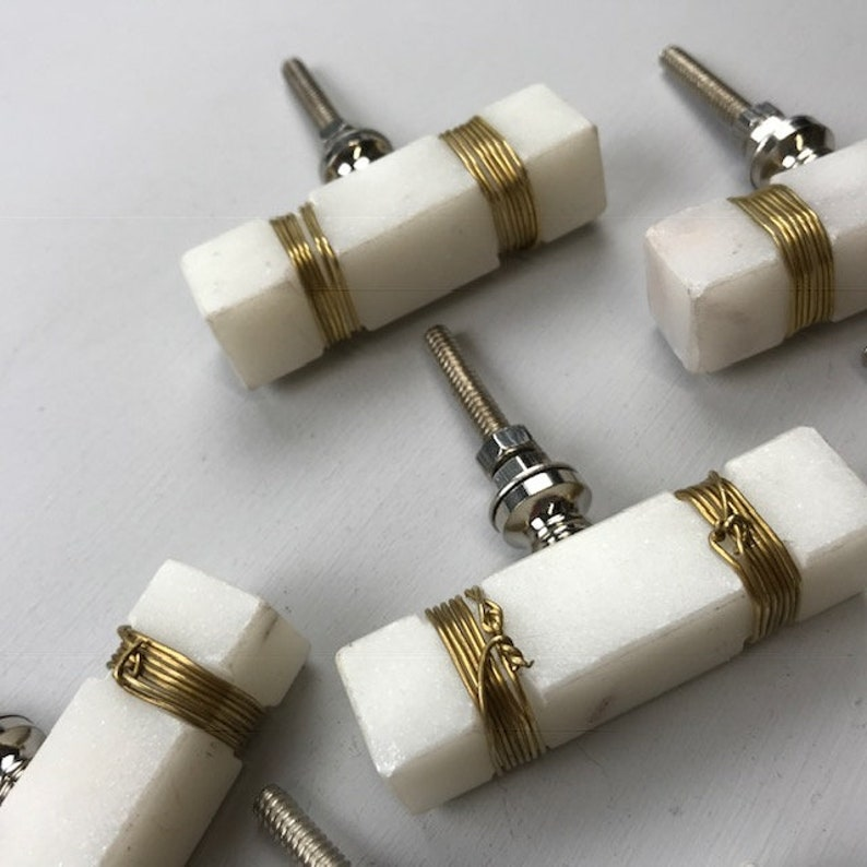 STONE Rectangle Knob with GOLD WIRE FEATURE Drawer Door
