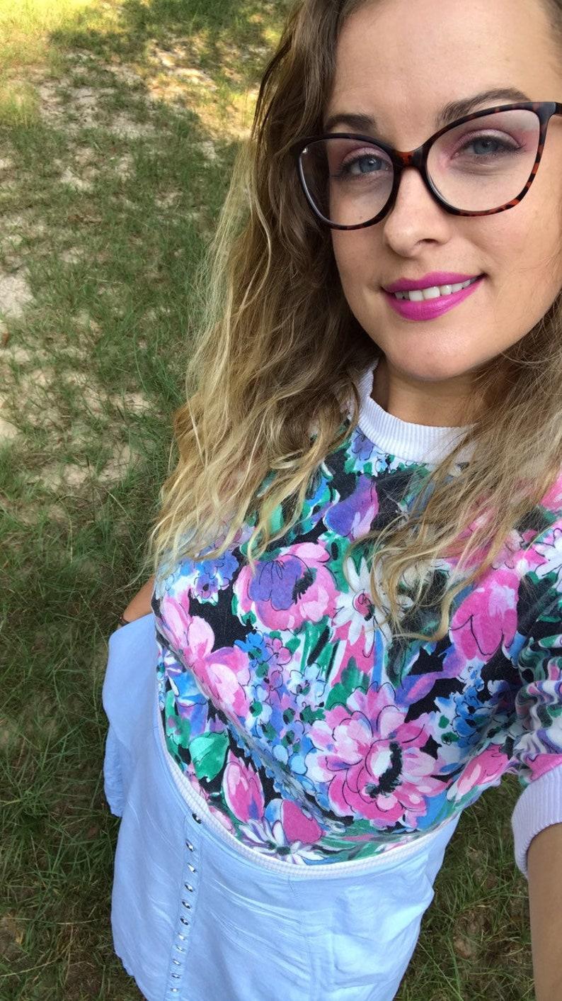floral blouse 80s vintage blouse Vintage floral shirt vintage tshirt vintage clothing
