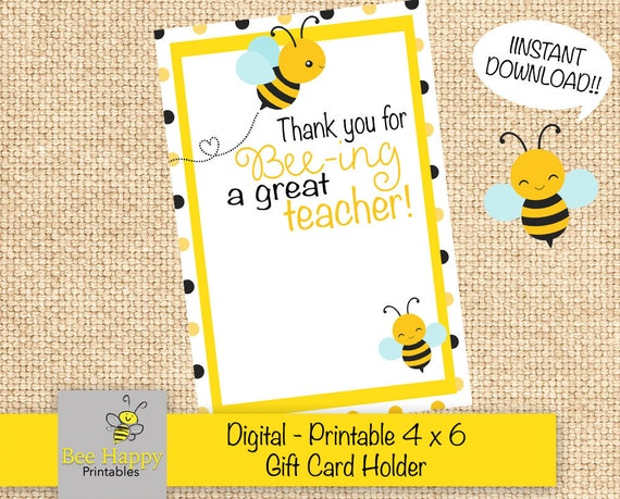 image relating to Thank You for Being a Great Teacher Printable identify Due for bee-ing a Wonderful instructor - Printable Trainer Present - Reward Card Holder - Thank By yourself Present Card Holders - Close of Calendar year
