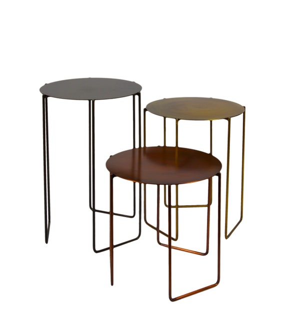 Round Side Table Set Of 3 Modern Side Table Stool Coffee Etsy