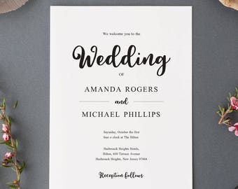 Elegant Wedding Invitations, Elegant Wedding Invitation Printable, Wedding Invitation Template Download, Editable Wedding Invitation