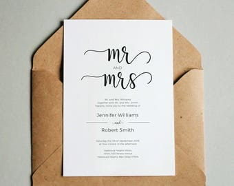 Wedding Invitation Printable Template, Wedding Invitation Download, Mr and Mrs Wedding Invitation Template, Printable Wedding Invitation