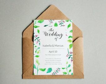 Wedding Invites, Floral Wedding Invites, Wedding Invite Template, Wedding Invite PDF, Printable Wedding Invitations, Wedding Invite