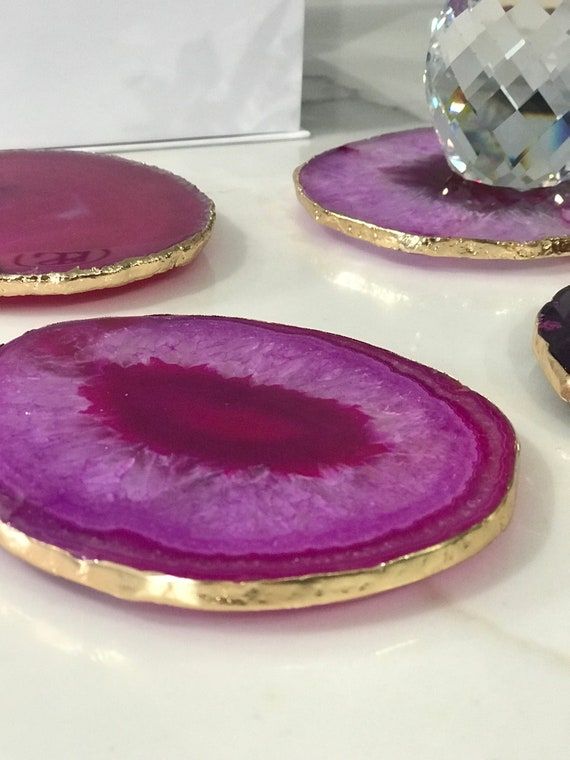 Gorgeous Agate Coasters with Gold Trim