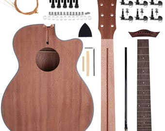 Diy guitar kits etsy zimo acoustic steel strings guitar make your own sapele guitar diy guitar kits 40 inch perfect gift for music lover solutioingenieria Images