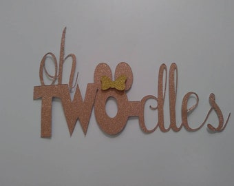Minnie mouse/two-dles cake topper/pink&gold
