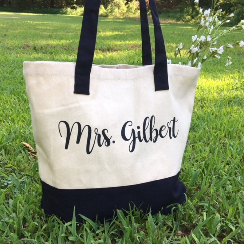 Bride Personalized Mrs Name Gift Tote Canvas Bag Wedding image 0