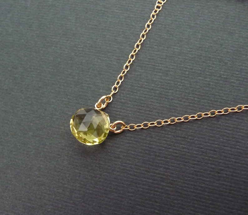 layering necklace gift for her quartz gold filled chain necklace Lemon quartz necklace simple natural gemstone necklace