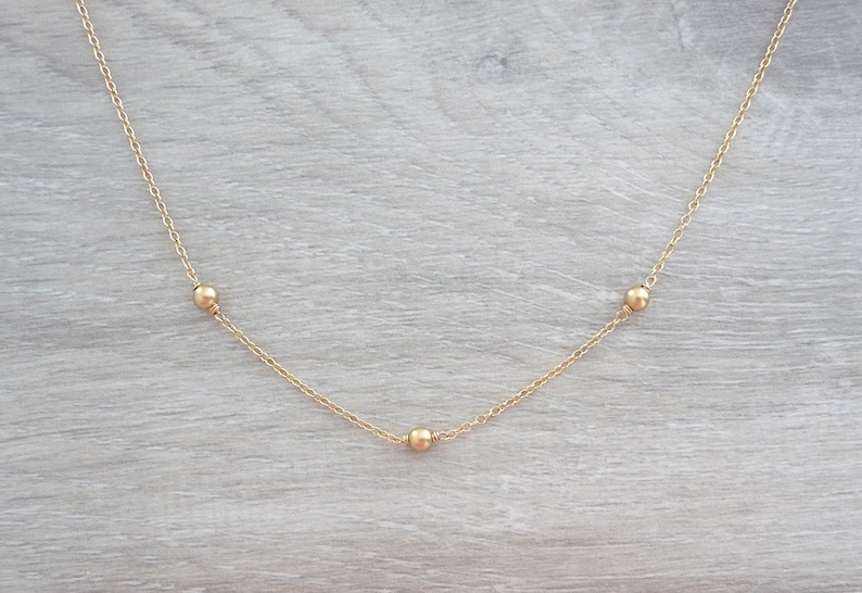 minimalist necklace dainty gold filled necklace layering necklace everyday necklace Gold filled beaded chain necklace
