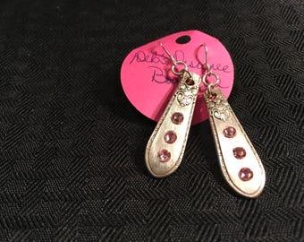 Spoon tip earrings. SIlver Plated