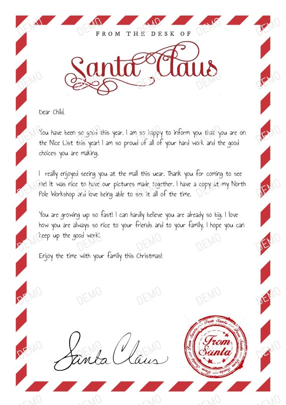 Instant Download Editable Santa Letter Handwritten Santa Etsy