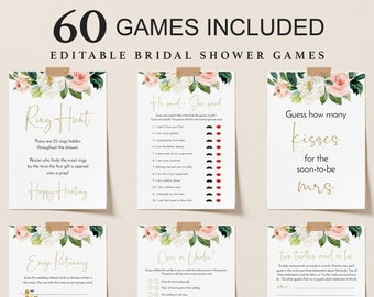 60 Bridal Shower Games Floral Printable Bridal Shower Games Minimalist Wedding Shower Games Editable Bridal Party Games Bride or Groom Game