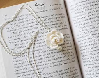 White Rose Crochet Pendant