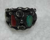 Lucy C Navajo Southwestern Native American Vintage Ring Silver coral turquoise Nugget Ring Applied Curved Feathers or Leaves