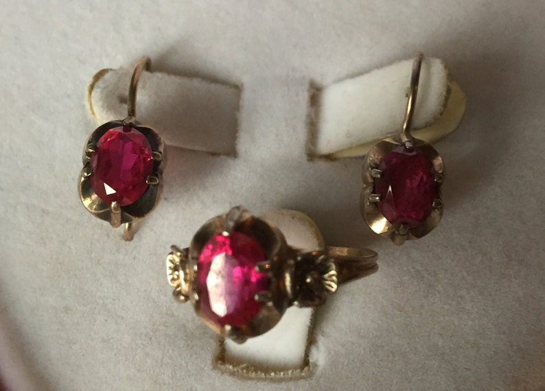 10 34 Ring Earrings silver 875 Russian Soviet Silver/&ruby  vintage  Gold Plated USSR Kharkiv Jewelry Factory 20.5 V