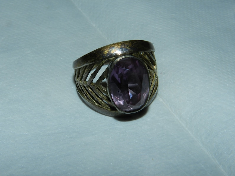 Amethyst Rings silver 875  Amethyst Russian Soviet Silver  vintage  Gold Plated USSR Kharkiv Jewelry Factory 19.5,S12 9 12