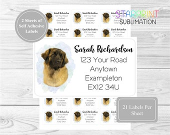 21 per sheet 42 Custom Self Adhesive Stickers Set Includes 2 A4 Sticker Sheets Leonberger Dog Personalised Address Labels