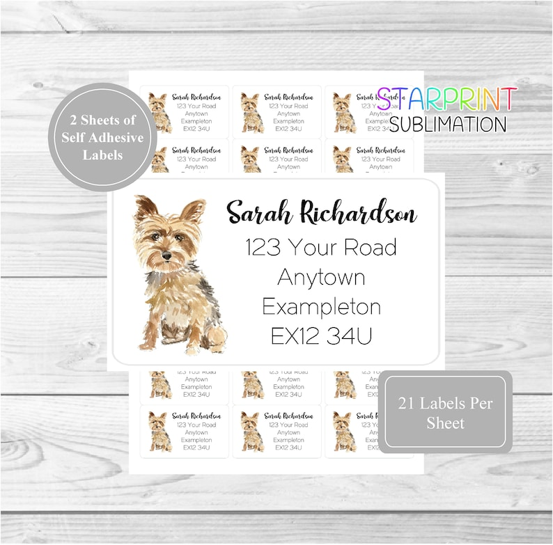 42 Custom Self Adhesive Yorkie Stickers Set Includes 2 A4 Sticker Sheets Yorkshire Terrier Dog Personalised Address Labels 21 per sheet
