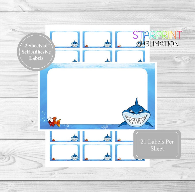Shark Sticker Sheets, 42 Self Adhesive Multi Purpose Stickers/Blank Sticky  Labels (21 Per Sheet), Fun For Gift Tags, To-Do Notes, Party Bags