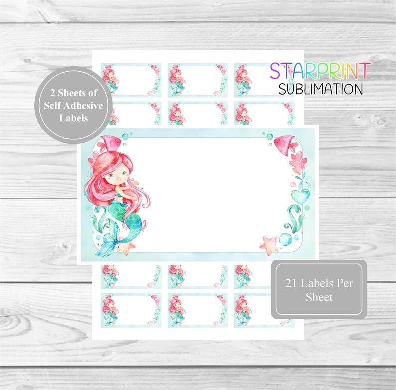 Mermaid Sticker Sheets, 42 Self Adhesive Multi Purpose Stickers/Blank  Sticky Labels (21 Per Sheet), Fun For Gift Tags/Childrens Party Bags