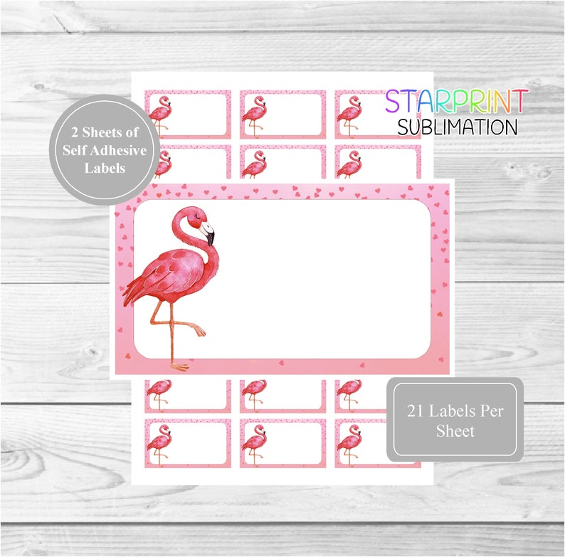 Flamingo Sticker Sheets, 42 Self Adhesive Multi Purpose Stickers/Blank  Sticky Labels (21 Per Sheet), Fun For Gift Tags/Party Bags/Books