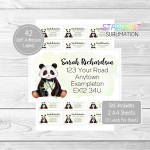 2 A4 Sheets 42 Custom Return Stickers Teddy Bear Personalised Address Labels