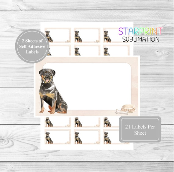 Rottweiler Dog Personalised Labels designed by Starprint