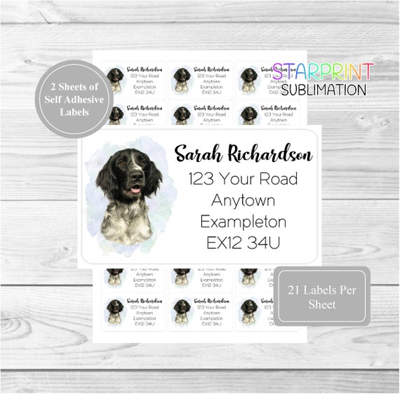 Set Includes 2 A4 Sticker Sheets Samoyed Dog Personalised Address Labels 42 Custom Self Adhesive Stickers 21 per sheet