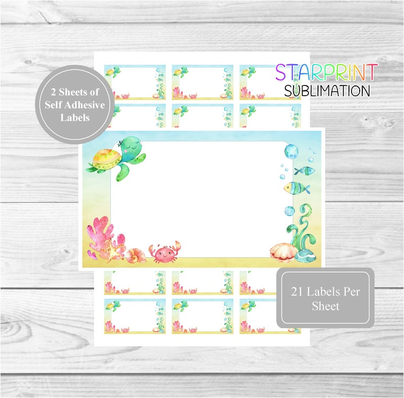 Underwater Sea Themed 42 Self Adhesive Multi Purpose Stickers/Blank Sticky  Labels (21 Per Sheet), Fun For Gift Tags, To-Do Notes, Party Bags