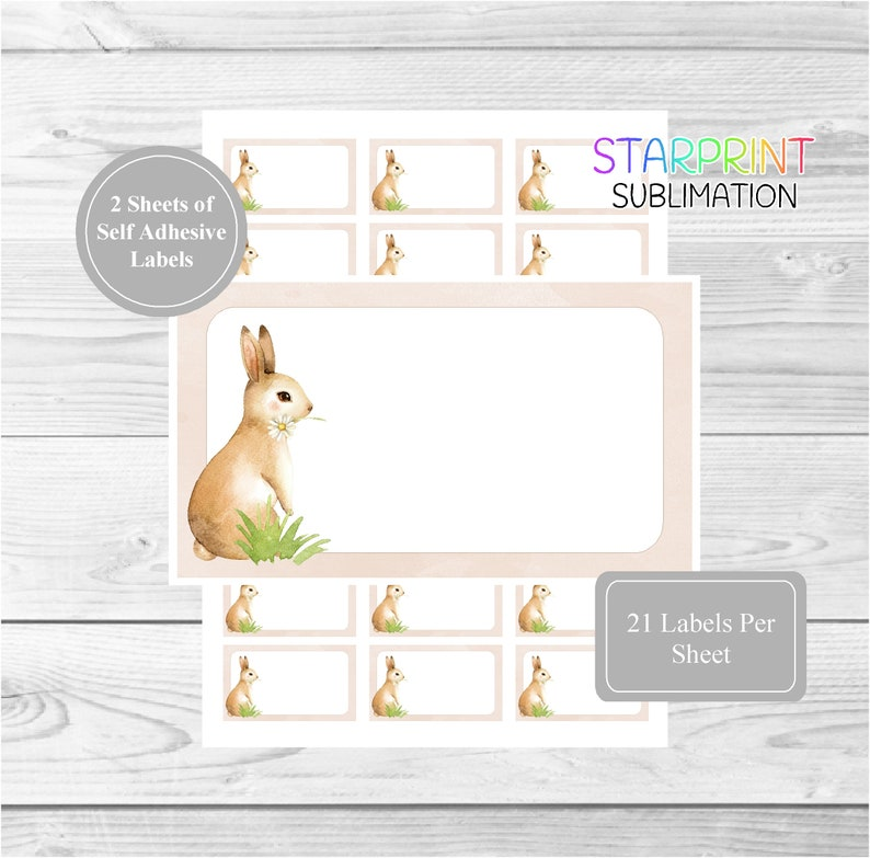 Rabbit Sticker Sheets, 42 Self Adhesive Multi Purpose Stickers/Sticky  Labels (21 Per Sheet), Blank For Address Labels/Gift Tags/Party Bags